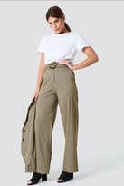 NA-KD Gathered Waist Dog-tooth Pants Green