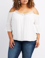 Charlotte Russe Plus Size Crochet-Trim Cold Shoulder Top