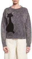 Marc Jacobs Cat-Print Crewneck Sweatshirt, Gray