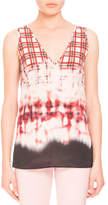 Altuzarra Bleached Plaid Sleeveless V-Neck Blouse, Scarlet