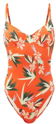 Solid & Striped The Taylor Floral-print Swimsuit - Orange Multi