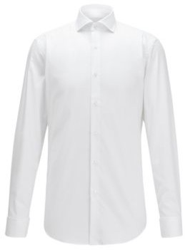 BOSS Slim-fit shirt in cotton with double cuffs