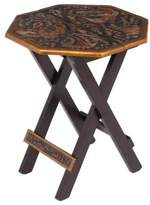 Peruvian Animal Themed Leather Wood Folding Table , 'Octagonal Birds of Paradise'