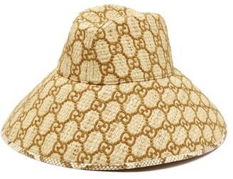 Gucci Snakeskin-trimmed Gg-embroidered Raffia Hat - Brown