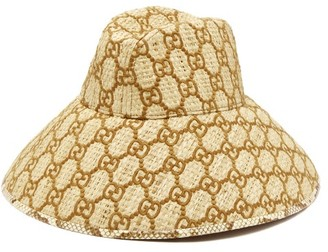 Gucci Snakeskin-trimmed Gg-embroidered Raffia Hat - Womens - Brown