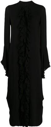 KHAITE Ruffled Collarless Shirt Dress