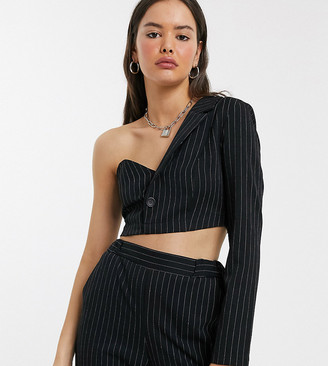 Reclaimed Vintage inspired one shoulder structured blazer crop top-Black