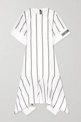 Calvin Klein Asymmetric Striped Embroidered Cotton-poplin Dress - White