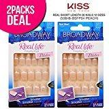 Kiss (2-PACK) Broadway Real Life Petites Real Short Length 28 Nails 12 Sizes (50848-BSFP04 Peach) Free Glue, Premium False Nails, Fashion Fake Nails