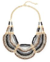 Saks Fifth Avenue Handmade Goldplated Scallop Beaded Tiered Necklace