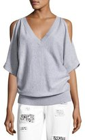 MICHAEL Michael Kors V-Neck Cold-Shoulder Blouson Sweater, Gray