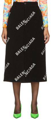 Balenciaga Black All Over Logo Long Skirt