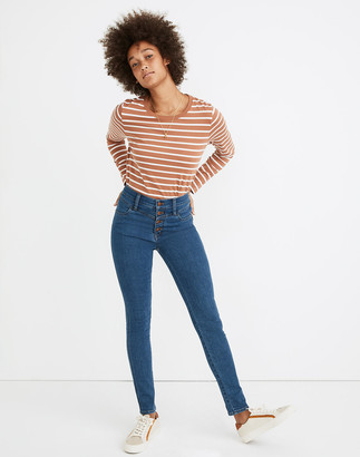 """Madewell 10"""" High-Rise Roadtripper Jeans in Eversall Wash: Button-Front Yoke Edition"""