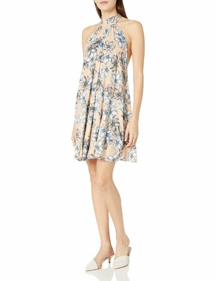 Clayton Women's Dori Floral Print Halter Swing Dress Bare Sketch Large