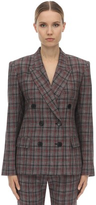 Isabel Marant Dallin Fitted Check Wool Blend Jacket