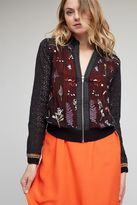 Anthropologie Carrie Embroidered Bomber, Black