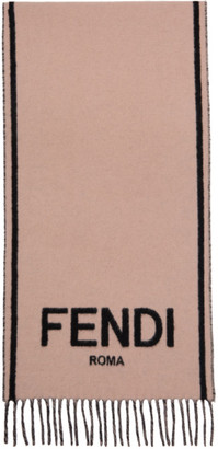Fendi Black and Pink Cashmere Logo Scarf