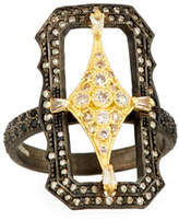 Armenta Old World Crivelli Scalloped Rectangle Ring with Diamonds, Size 7