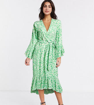 Twisted Wunder exclusive ruffle midi dress in green daisy