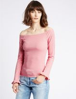 Marks and Spencer Cotton Blend Striped Long Sleeve Bardot Top