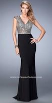 La Femme Jewel Encrusted Sheer Open Back Prom Dress