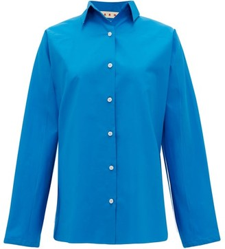 Marni Pleated-back Cotton Shirt - Womens - Blue