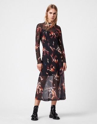 AllSaints Hanna flame print high neck maxi dress with long sleeves in black