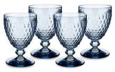 Villeroy & Boch Boston Blue Crystal Goblets/Set of 4