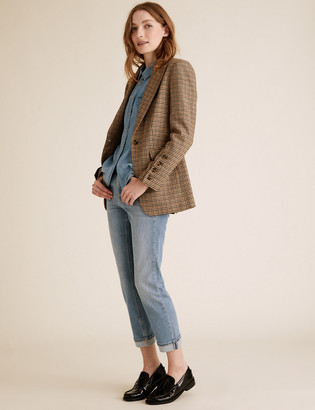 Marks and Spencer Wool Tailored Dogtooth Blazer