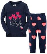 SS&CC Girls' LOVE Printing Long Sleeve 2 Piece 100% Cotton Pajama set(2-7 Years)