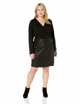 City Chic Women's Apparel Women's Plus Size Contrast Solid FIT and Flare Dress