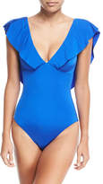 Trina Turk Deep-V Solid Ruffle-Sleeve One-Piece Swimsuit