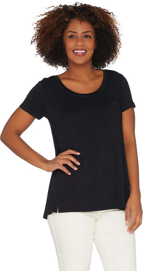 Halston H By H by Essentials Tee with Pocket Detail