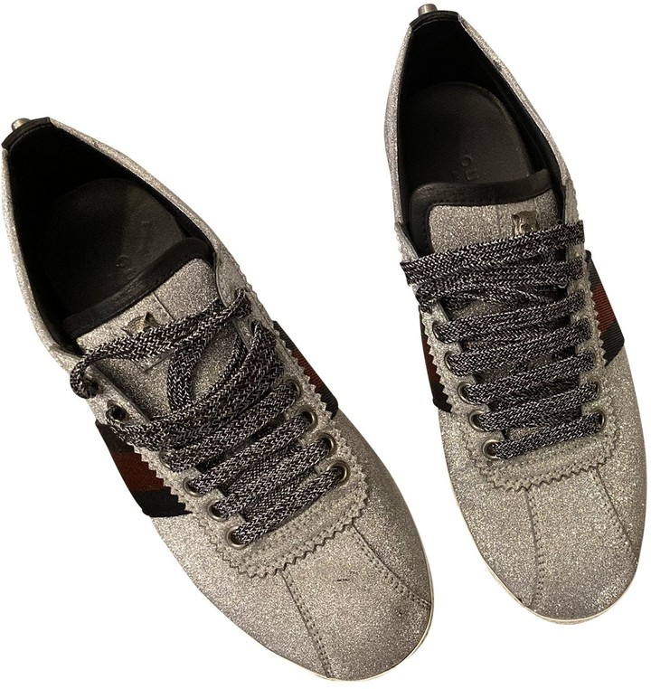 Gucci Silver Glitter Trainers - ShopStyle