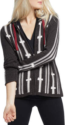Nic+Zoe New Tracks Striped Zip-Front Hooded Cardigan