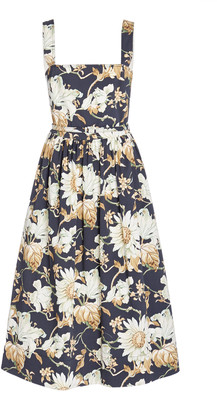 Oscar de la Renta Flora-Print Pleated Cotton-Blend Dress