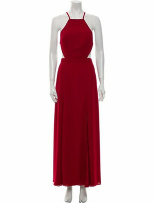 Fame & Partners Square Neckline Long Dress w/ Tags Red
