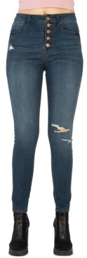 Rewash Juniors' Stevie High-Rise Button-Fly Jeans