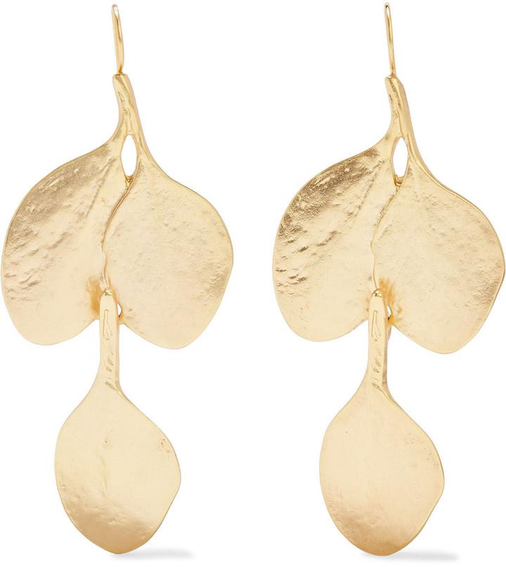 Kenneth Jay Lane Hammered 24-karat Gold-plated Earrings