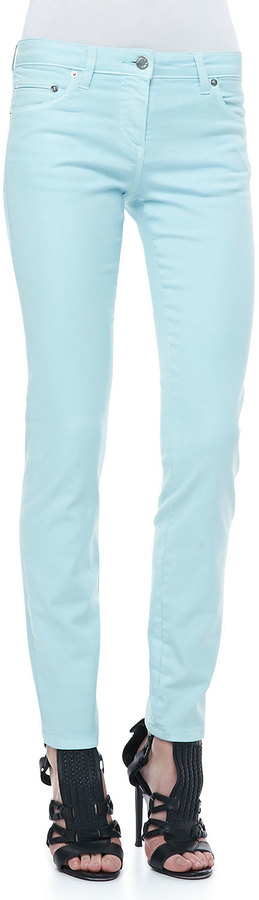 Roberto Cavalli 5-Pocket Solid Skinny Jeans, Light Blue
