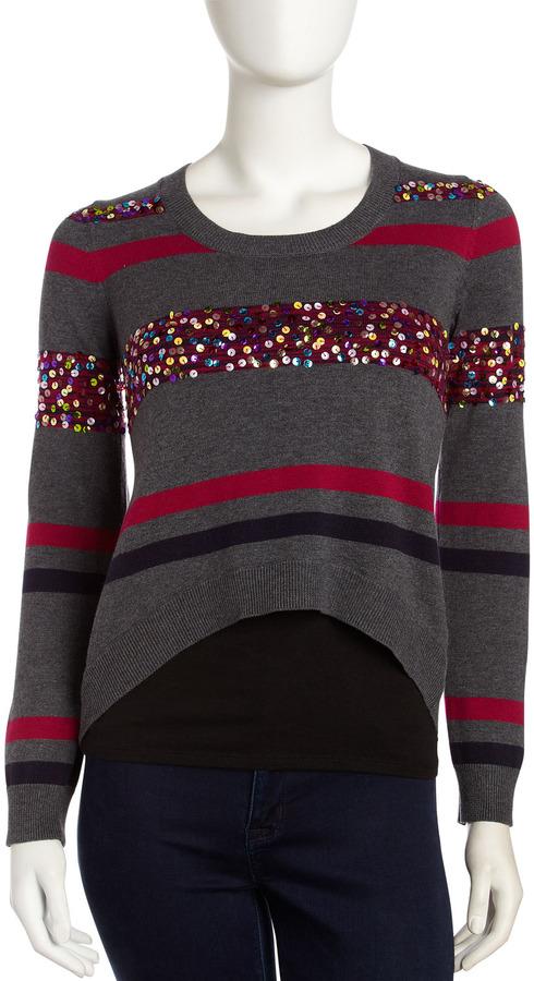 Design History Sequin Stripe Sweater, Chrome Heather