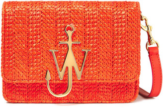 J.W.Anderson Anchor Logo Appliqued Faux Raffia And Leather Shoulder Bag