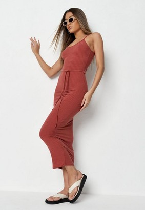 Missguided Tall Terracotta Rib Tie Belt Cami Midaxi Dress