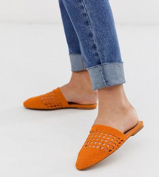 Asos Design DESIGN Wide Fit Motto woven mules in orange