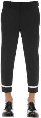 Neil Barrett SKINNY WOOL BLEND GABARDINE PANTS