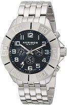 Akribos XXIV Men's AK767SSB Multifunction Swiss Quartz Movement Watch with Black Dial and Silver tone Bracelet
