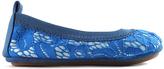 Yosi Samra Blue Leather & Lace Sammie Ballet Flat