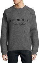 Burberry Belsford Wool-Cashmere Logo Sweatshirt, Gray