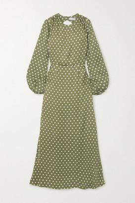 Racil Fez Open-back Polka-dot Satin Maxi Dress - Army green