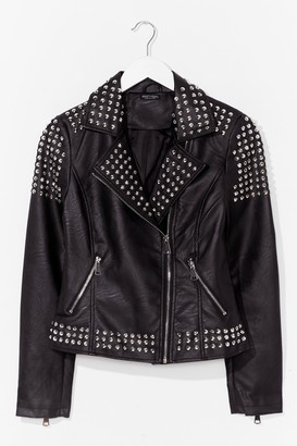 Nasty Gal Womens Born to Be Wild Faux Leather Studded Jacket - Black